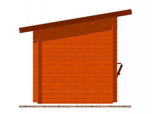 stánek Trafik 350x200 28 mm_vizualizace boční strany - Srubový stánek Trafik s čelním přesahem střechy 50 cm a dvojitou okenicí. Standardní provedení.