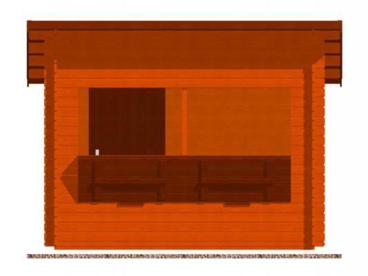 stánek Trafik 300x250 28 mm_vizualizace čelní strany - Srubový stánek Trafik s čelním přesahem střechy 50 cm a dvojitou okenicí. Standardní provedení.