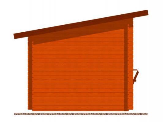 stánek Trafik 300x250 28 mm_vizualizace boční strany - Srubový stánek Trafik s čelním přesahem střechy 50 cm a dvojitou okenicí. Standardní provedení.