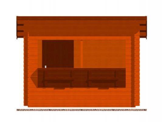 stánek Trafik 300x200 28 mm_vizualizace čelní strany - Srubový stánek Trafik s čelním přesahem střechy 50 cm a dvojitou okenicí. Standardní provedení.