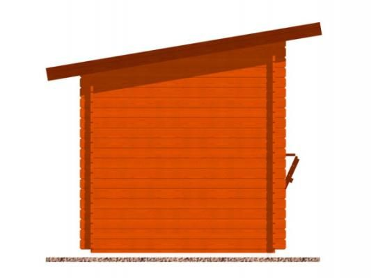 stánek Trafik 300x200 28 mm_vizualizace boční strany - Srubový stánek Trafik s čelním přesahem střechy 50 cm a dvojitou okenicí. Standardní provedení.