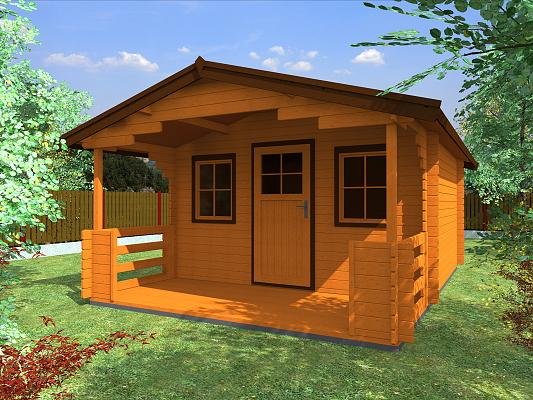 Stella EKO 350x350 28 mm_vizualizace - Zahradní domek Stella EKO s čelním přesahem střechy 170 cm a terasou. Standardní provedení.