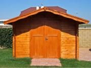 Laura DD - Zahradní domek Laura s dvoukř. dveřmi a přesahem střechy 70 cm. Atypické provedení dle přání zákazníka.