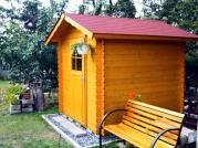 Albert 200x200 - Nářaďový zahradní domek Albert s čelním přesahem střechy 30 cm. Standardní provedení.