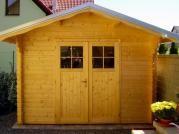 Albert 300x300 DD - Nářaďový zahradní domek Albert s čelním přesahem střechy 30 cm a s dvoukřídlými dveřmi. Okapy, svody a oplechování střechy - pozink.