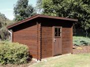 Robin 300x250 - Nářaďový zahradní domek Robin s čelním přesahem střechy 30 cm. Standardní provedení.