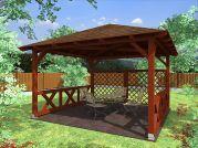 Altán Atelier 350x350_vizualizace - Zahradní altán atelier - kombinace mřížových a selských zástěn.