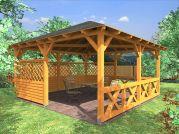 Altán Atelier 450x450_vizualizace - Zahradní altán Ateliér - kombinace selské, plné lamelové a mřížové zástěny.