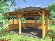 Altán Atelier 450x450_vizualizace - Zahradní altán Ateliér s plnou lamelovou zástěnou.