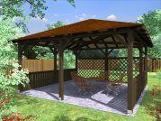 Altán Atelier 450x450_vizualizace - Zahradní altán Ateliér - kombinace plůtkové a mřížové zástěny.
