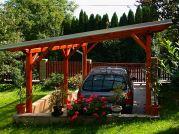 Garážové stání Standard 300x570 - Garážové stání se střechou z polykarbonátových desek WT a s okapy a svody.