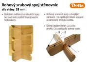Rohový srubový spoj stěnovnic - Popis rohového srubového spoje stěnovnic síly 33 mm.