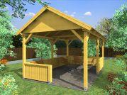 zahradní altán Sedlo 300x500 - Zahradní altán se sedlovou střechou - doplněný o mřížové a plůtkové zástěny.