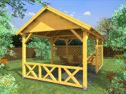 zahradní altán Sedlo 300x500 - Zahradní altán se sedlovou střechou - doplněný o mřížové a selské zástěny.
