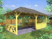 zahradní altán Valba 300x600 - Zahradní altán Valba s mřížovými zástěnami v kombinaci s lamelovou a selskou zástěnou.