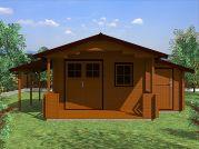 Zahradní chatka Camping EKO DD 490x300 s přístřeškem - Zahradní chatka Camping s dvoukřídlými dveřmi, zastřešenou terasou a bočním přístřeškem.