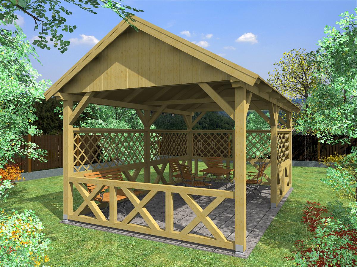 zahradní altán Sedlo 300x500 - Zahradní altán se sedlovou střechou - doplněný o mřížové a selské zástěny
