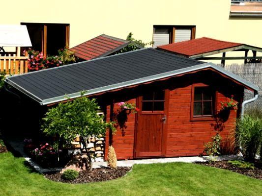 Claudia 350x300 - Zahradní domek Claudia s okapy a svody, lemy střechy jsou oplechovány.