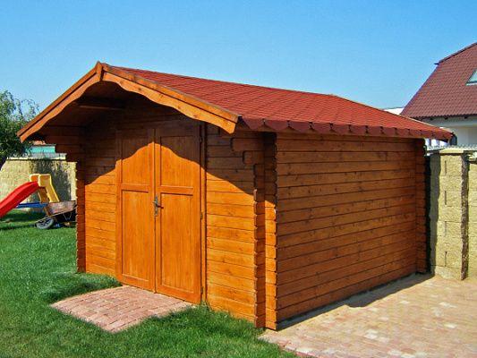 Laura DD 300x300_atyp - Zahradní domek Laura EKO s čelním přesahem střechy 70 cm a s dvoukřídlými plnými dveřmi. Bez okna. Atypické provedení podle přání zákazníka.