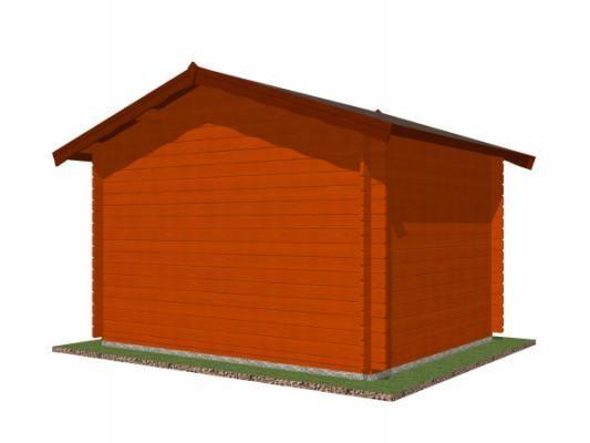 Laura 300x250 28 mm_vizualizace zadní stěny - Zahradní domek Laura s čelním přesahem střechy 30 cm. Standardní provedení.