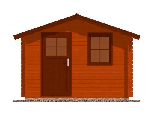 Laura 300x250 28 mm_vizualizace čelní stěny - Zahradní domek Laura s čelním přesahem střechy 30 cm. Standardní provedení.