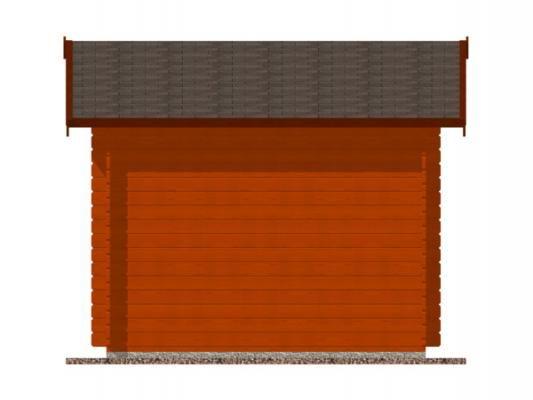 Laura 300x250 28 mm_vizualizace boční stěny - Zahradní domek Laura s čelním přesahem střechy 30 cm. Standardní provedení.