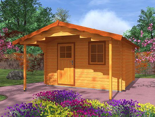 Laura EKO 350x300 s přesahem 170 cm_vizualizace - Zahradní domek Laura EKO s čelním přesahem střechy 170 cm. Standardní provedení.