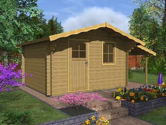 Laura EKO 350x300 + přístřešek - Zahradní domek Laura EKO s čelním přesahem střechy 70 cm a s bočním přístřeškem. Standardní provedení.