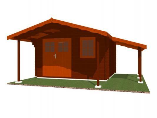 Laura EKO DD 350x300 s přesahem 170 cm a s přístřeškem_vizualizace - Zahradní domek Laura EKO s čelním přesahem střechy 170 cm a s bočním přístřeškem. Dvoukřídlé dveře. Standardní provedení.