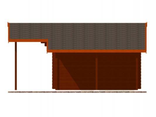 Laura EKO 350x300 DD s přesahem 170 cm a s přístřeškem_vizualizace boční stěny - Zahradní domek Laura EKO s čelním přesahem střechy 170 cm a s bočním přístřeškem. Dvoukřídlé dveře. Standardní provedení.