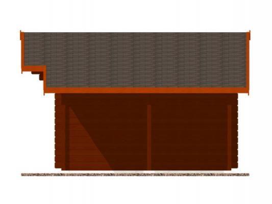 Laura EKO DD 350x300 + přístřešek_vizualizace boční stěny - Zahradní domek Laura EKO s čelním přesahem střechy 70 cm a s bočním přístřeškem. Dvoukřídlé dveře. Standardní provedení.