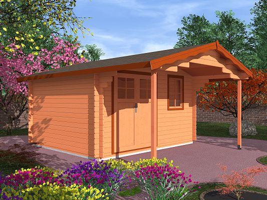 Laura EKO DD 350x350 s přesahem 170 cm_vizualizace - Zahradní domek Laura EKO s čelním přesahem střechy 170 cm a s dvoukřídlými dveřmi. Standardní provedení.