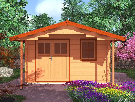 Laura EKO DD 350x300 s přesahem 170 cm_vizualizace - Zahradní domek Laura EKO s čelním přesahem střechy 170 cm a s dvoukřídlými dveřmi. Standardní provedení.