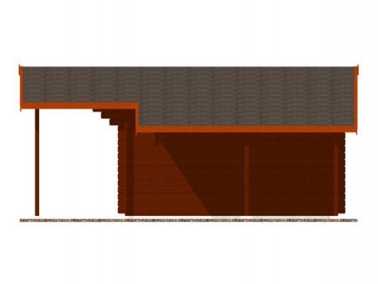 Laura EKO DD 350x350 s přesahem 170 cm a s přístřeškem_vizualizace boční stěny - Zahradní domek Laura EKO s čelním přesahem střechy 170 cm a s bočním přístřeškem. Dvoukřídlé dveře. Standardní provedení.