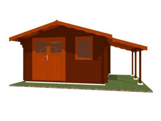 Laura EKO DD 350x350 + přístřešek_vizualizace - Zahradní domek Laura EKO s čelním přesahem střechy 70 cm a s bočním přístřeškem. Dvoukřídlé dveře. Standardní provedení.