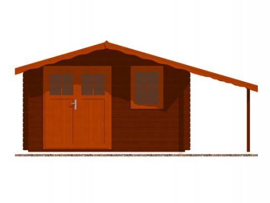 Laura EKO DD 350x350 + přístřešek_vizualizace čelní strany - Zahradní domek Laura EKO s čelním přesahem střechy 70 cm a s bočním přístřeškem. Dvoukřídlé dveře. Standardní provedení.