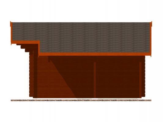 Laura EKO DD 350x350 + přístřešek_vizualizace boční stěny - Zahradní domek Laura EKO s čelním přesahem střechy 70 cm a s bočním přístřeškem. Dvoukřídlé dveře. Standardní provedení.