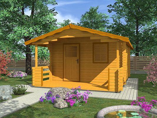 Luka EKO 350x350 28 mm_vizualizace - Zahradní domek Luka EKO s čelním přesahem střechy 170 cm a terasou. Standardní provedení.