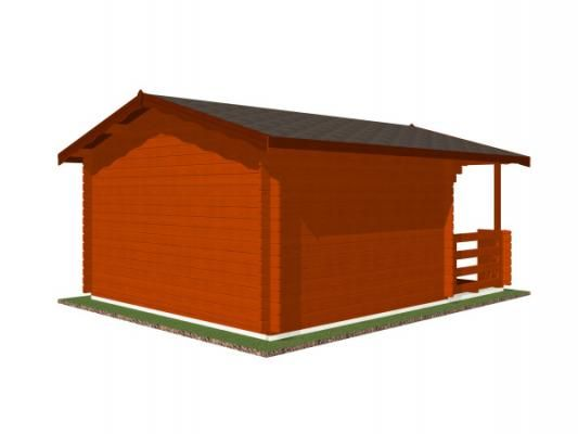 Luka EKO DD 350x300 28 mm_vizualizace zadní stěny - Zahradní domek Luka EKO DD s čelním přesahem střechy 170 cm a terasou. Standardní provedení.