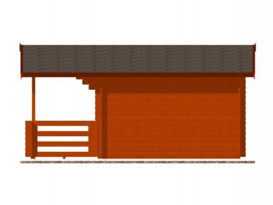 Luka EKO DD 350x300 28 mm_vizualizace boční stěny - Zahradní domek Luka EKO DD s čelním přesahem střechy 170 cm a terasou. Standardní provedení.