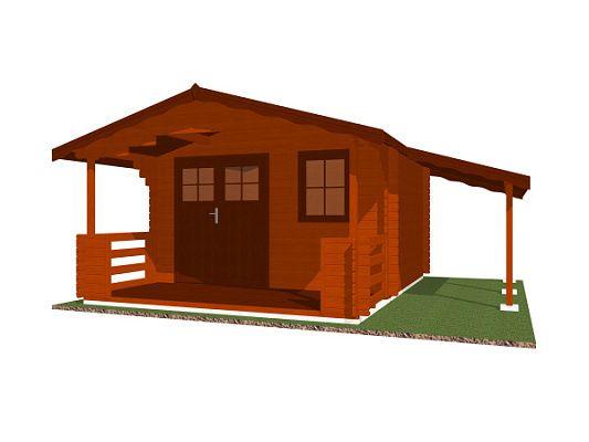Luka EKO DD 350x300 28 mm_vizualizace - Zahradní domek Luka EKO DD s čelním přesahem střechy 170 cm, terasou a bočním přístřeškem. Standardní provedení.