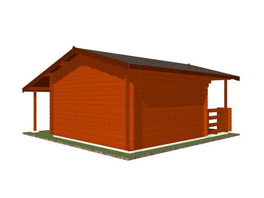Luka EKO DD 350x300 28 mm_vizualizace zadní stěny - Zahradní domek Luka EKO DD s čelním přesahem střechy 170 cm, terasou a bočním přístřeškem. Standardní provedení.