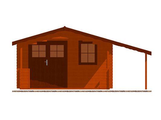 Luka EKO DD 350x300 28 mm_vizualizace čelní stěny - Zahradní domek Luka EKO DD s čelním přesahem střechy 170 cm, terasou a bočním přístřeškem. Standardní provedení.