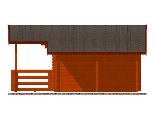 Luka EKO DD 350x300 28 mm_vizualizace boční stěny - Zahradní domek Luka EKO DD s čelním přesahem střechy 170 cm, terasou a bočním přístřeškem. Standardní provedení.