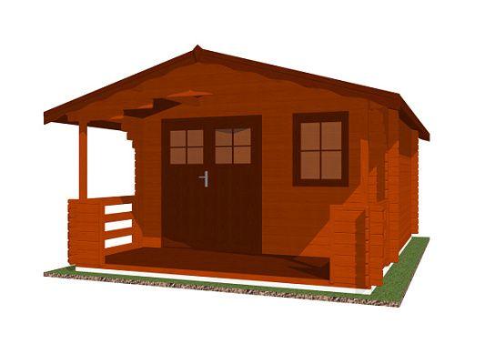 Luka EKO DD 350x350 28 mm_vizualizace - Zahradní domek Luka EKO DD s čelním přesahem střechy 170 cm a terasou. Standardní provedení.