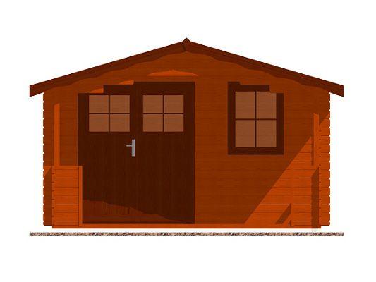 Luka EKO DD 350x350 28 mm_vizualizace čelní stěny - Zahradní domek Luka EKO DD s čelním přesahem střechy 170 cm a terasou. Standardní provedení.