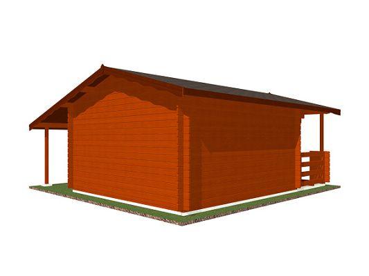 Luka EKO DD 350x350 28 mm_vizualizace zadní stěny - Zahradní domek Luka EKO DD s čelním přesahem střechy 170 cm, terasou a bočním přístřeškem. Standardní provedení.