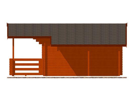 Luka EKO DD 350x350 28 mm_vizualizace boční stěny - Zahradní domek Luka EKO DD s čelním přesahem střechy 170 cm, terasou a bočním přístřeškem. Standardní provedení.