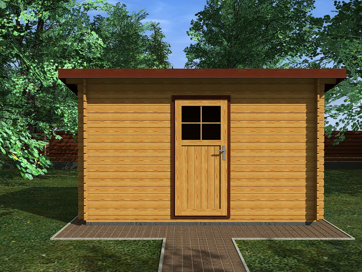 Robin EKO 350x200_vizualizace - Nářaďový zahradní domek Robin s čelním přesahem střechy 30 cm. Standardní provedení.