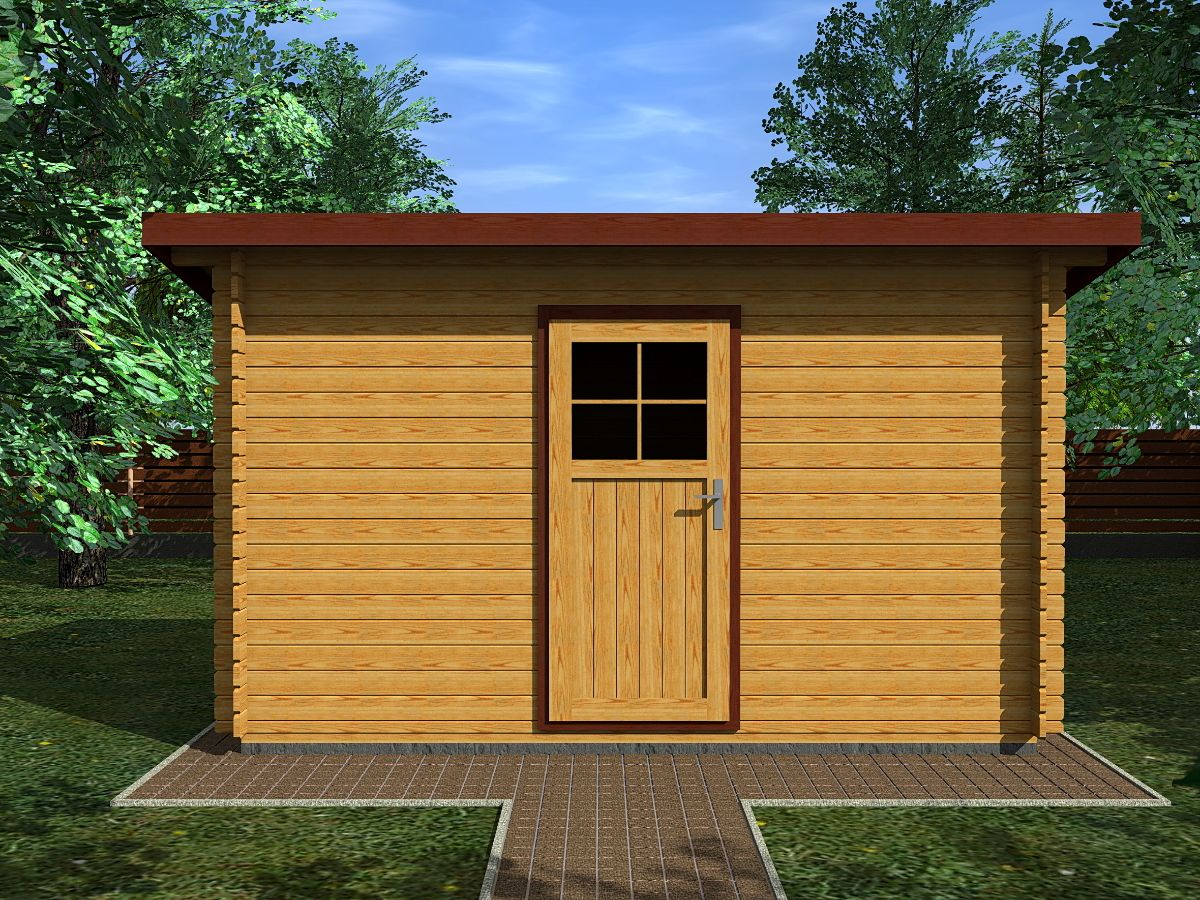 Robin EKO 350x250_vizualizace - Nářaďový zahradní domek Robin s čelním přesahem střechy 30 cm. Standardní provedení.